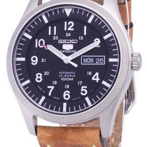 Seiko 5 Sports SNZG15J1-LS17 automatique Japon faite en cuir marron bracelet montre homme