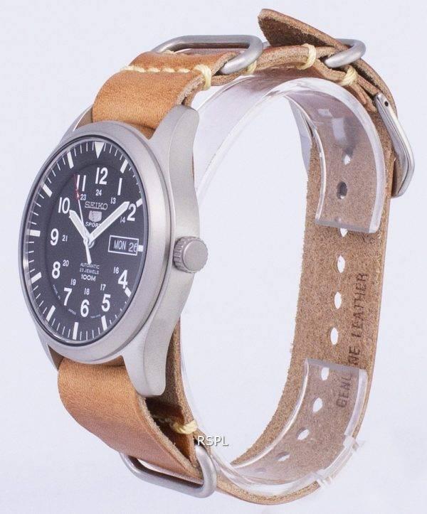 Seiko 5 Sports SNZG15J1-LS18 automatique au Japon fait en cuir marron bracelet montre homme
