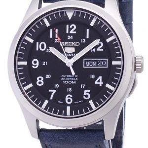 Seiko 5 Sports SNZG15K1-LS13 en cuir bleu foncé automatique bracelet montre homme