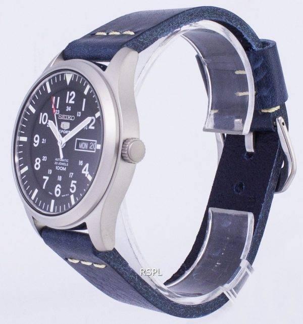 Seiko 5 Sports SNZG15K1-LS15 en cuir bleu foncé automatique bracelet montre homme