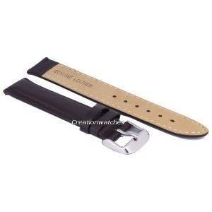 Bracelet de cuir de marque Ratio brun foncé 18mm