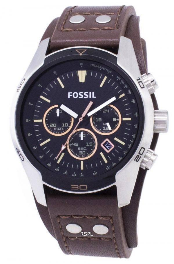 Fossil Coachman chronographe cadran noir en cuir brun Montre CH2891 Hommes