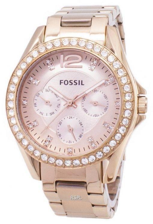 Montre Fossil Riley multifonctions Crystal Rose d'or ES2811 femmes