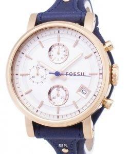 Fossiles originaux copain Quartz chronographe en cuir bleu bracelet ES3838 femmes montre