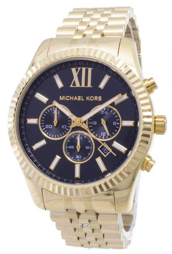 Michael Kors Lexington chronographe cadran noir doré MK8286 montre homme
