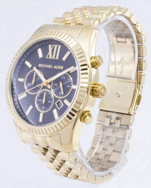 Michael Kors Lexington chronographe cadran noir doré MK8286 montre homme