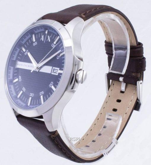 Armani Exchange Quartz cadran marine cuir marron bracelet AX2133 montre homme