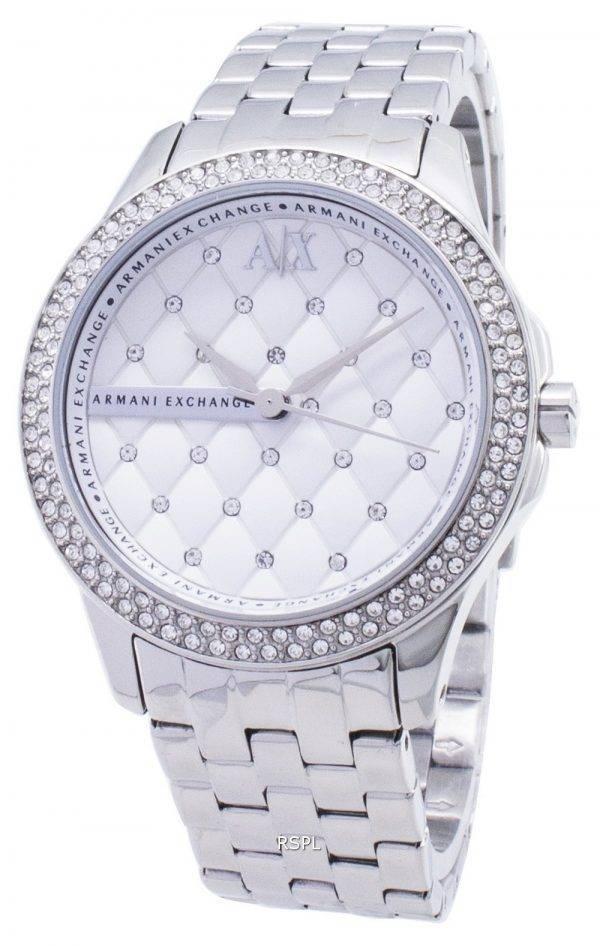 Armani Exchange Lady Hampton matelassé argent cristaux cadran montre de AX5215 féminin