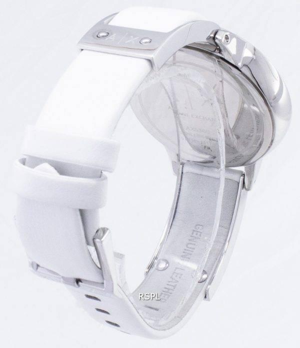 Armani Exchange cadran blanc cuir blanc AX5300 montre