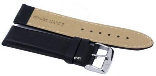 Bracelet de cuir noir Ratio marque 22mm pour SKX007 SKX009, SKX011, SNZG07, SNZG015