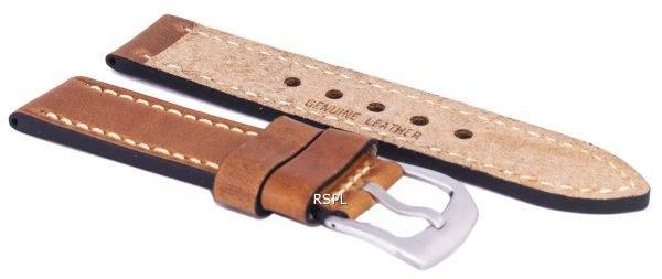 Bracelet de cuir brun Ratio marque 22mm