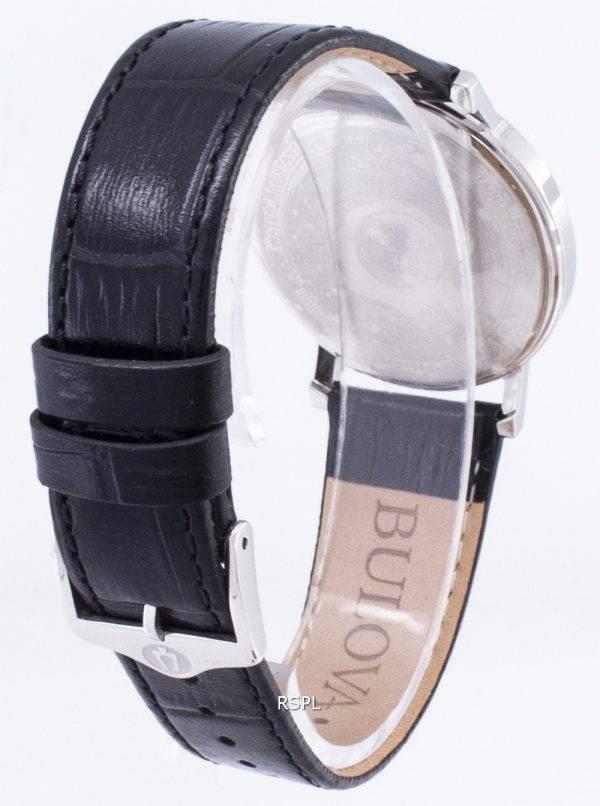 Bulova noir cuir 96B104 hommes montre