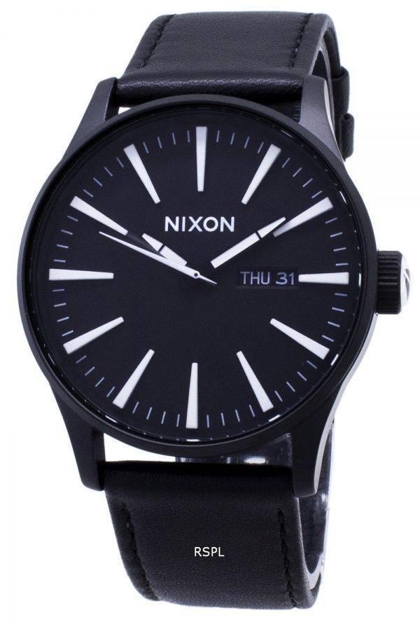 Montre Nixon Quartz Sentry cuir noir A105-005-00 homme