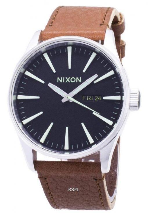 Montre Nixon Quartz Sentry en cuir marron A105-1037-00 homme