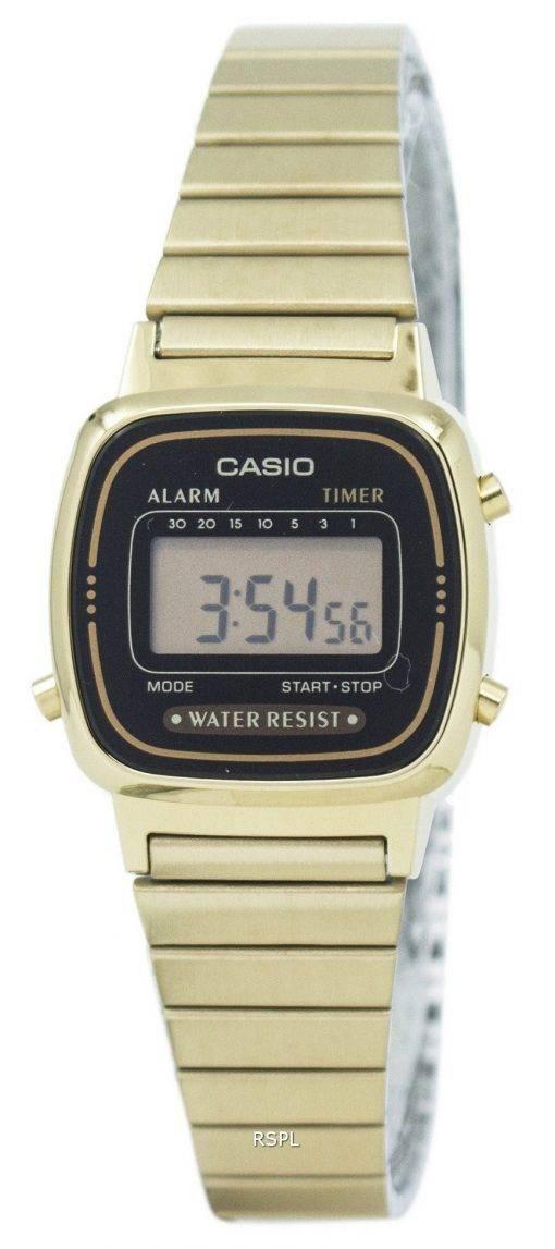 Montre Casio Digital inox alarme minuteur LA670WGA-1DF LA670WGA-1 féminin